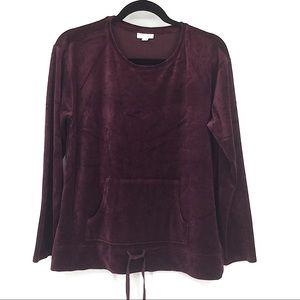 J. Jill Velvet Long Sleeve Pullover Top Medium